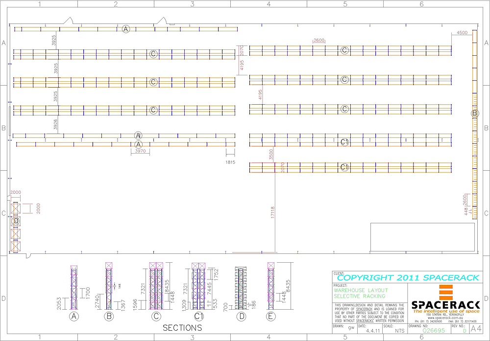 Enchanting shelves cad block pictures simple design home for Warehouse racking layout software free